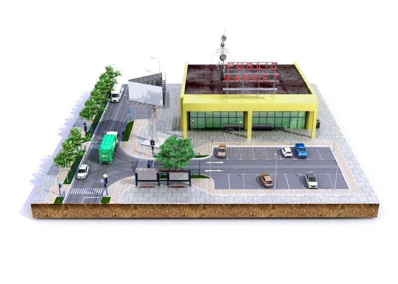 Klachek landsupermarket med parkering p? jordningen 3d att framf?ra p? vit royaltyfri illustrationer