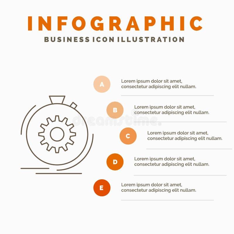 Klage, schnell, Leistung, Prozess, Geschwindigkeit Infographics-Schablone auf Website und Darstellung Linie graue Ikone mit Orang stock abbildung