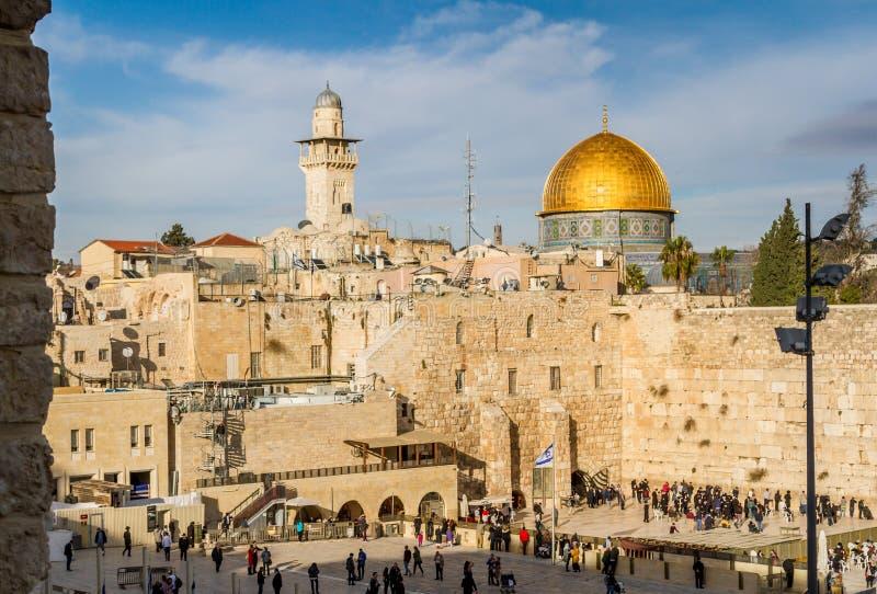 Klagemauer und Felsendom, Jerusalem lizenzfreie stockbilder