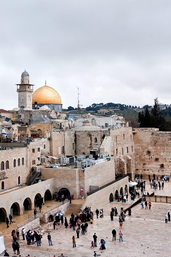 Klagemauer und Haube des Felsens in Jerusalem, Israel lizenzfreies stockbild