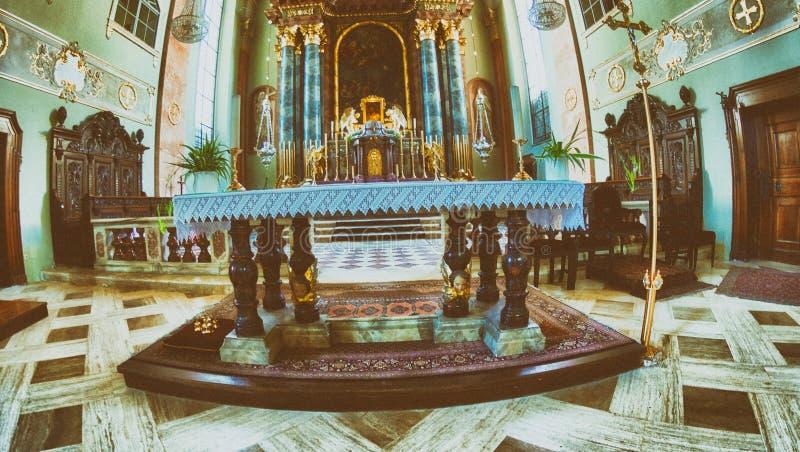 KLAGENFURT, AUSTRIA - AUGUST 2013: St Egid Church. Klagenfurt is. A major destination in Austria royalty free stock photography