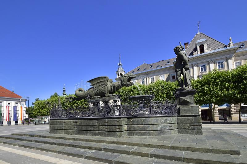 Klagenfurt, Austria in summer. With old architecture royalty free stock images