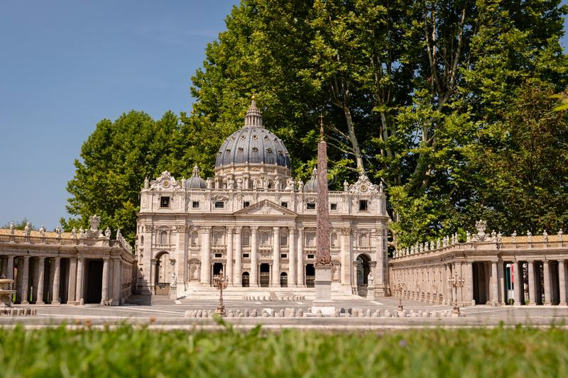 KLAGENFURT, CARINTHIA, AUSTRIA - AUGUST 07, 2018: Park Minimundus am Worthersee. Models of the most famous historical buildings and structures in the world. 1 stock photography