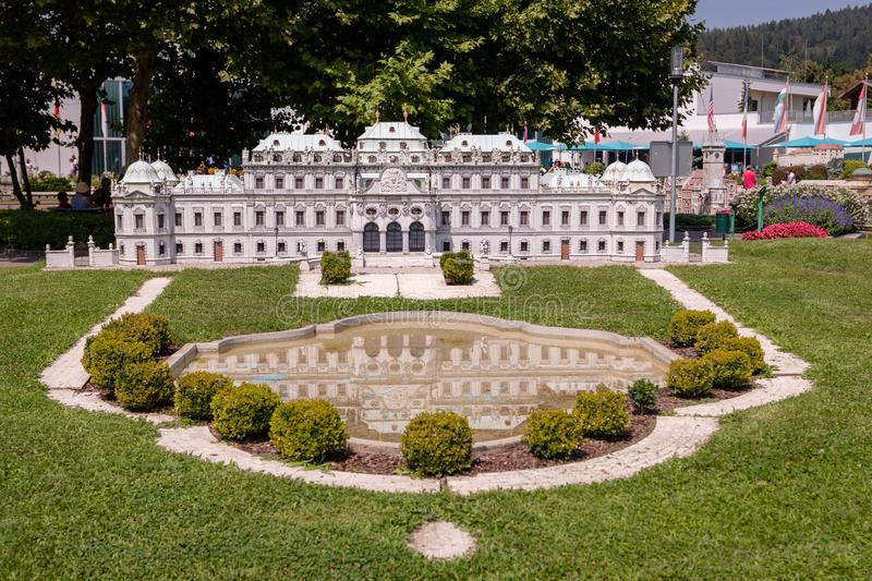KLAGENFURT, CARINTHIA, AUSTRIA - AUGUST 07, 2018: Park Minimundus am Worthersee. Models of the most famous historical buildings and structures in the world. 1 stock photos