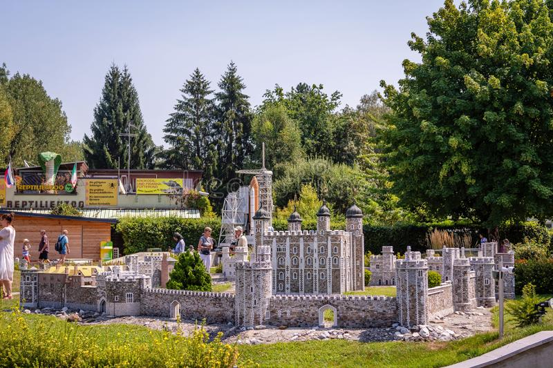 KLAGENFURT, CARINTHIA, AUSTRIA - AUGUST 07, 2018: Park Minimundus am Worthersee. Models of the most famous historical buildings and structures in the world. 1 stock images