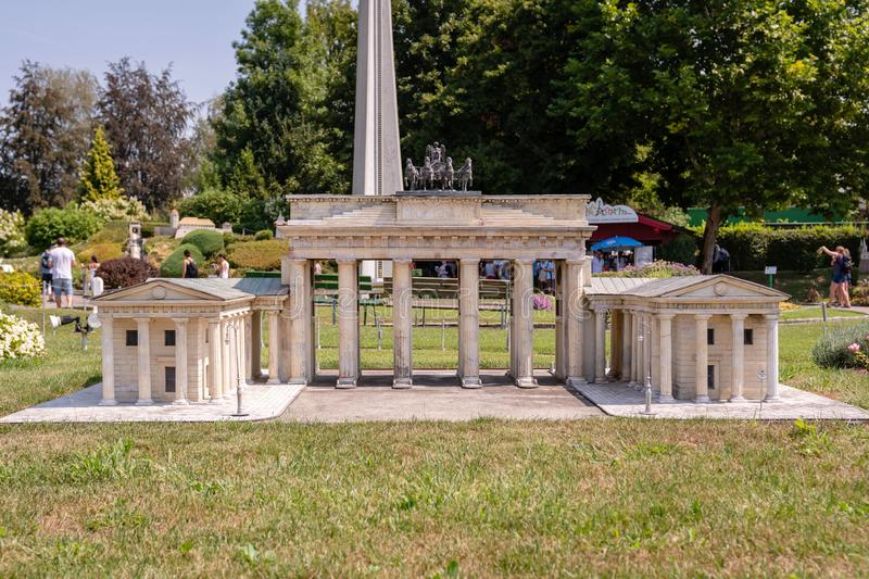 KLAGENFURT, CARINTHIA, AUSTRIA - AUGUST 07, 2018: Park Minimundus am Worthersee. Models of the most famous historical buildings and structures in the world. 1 royalty free stock photography