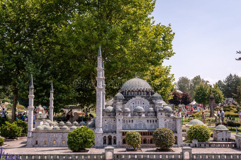 KLAGENFURT, CARINTHIA, AUSTRIA - AUGUST 07, 2018: Park Minimundus am Worthersee. Models of the most famous historical buildings and structures in the world. 1 royalty free stock image