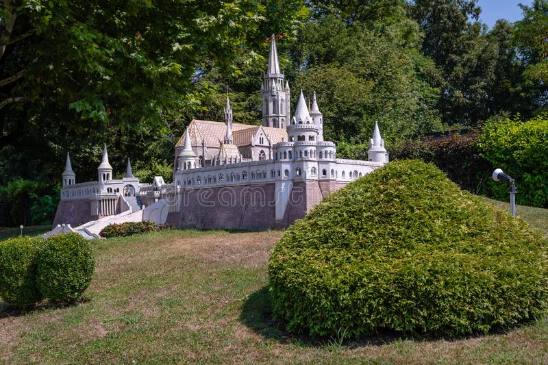 KLAGENFURT, CARINTHIA, AUSTRIA - AUGUST 07, 2018: Park Minimundus am Worthersee. Models of the most famous historical buildings and structures in the world. 1 royalty free stock photo