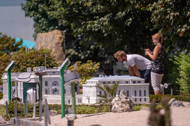 KLAGENFURT, CARINTHIA, AUSTRIA - AUGUST 07, 2018: Park Minimundus am Worthersee. Models of the most famous historical buildings and structures in the world. 1 royalty free stock images