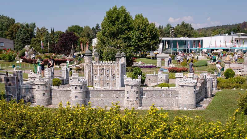 KLAGENFURT, CARINTHIA, AUSTRIA - AUGUST 07, 2018: Park Minimundus am Worthersee. Models of the most famous historical buildings and structures in the world. 1 stock photo