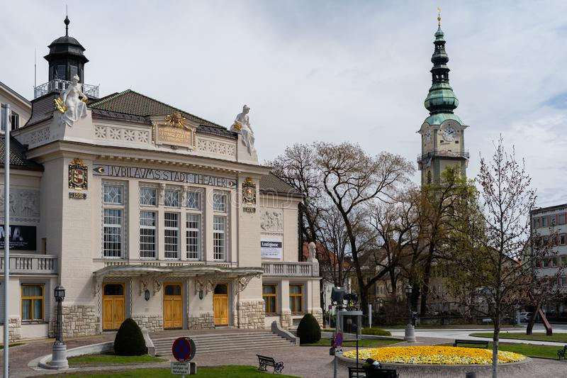 Klagenfurt theaterplatz April 2019 royaltyfria bilder