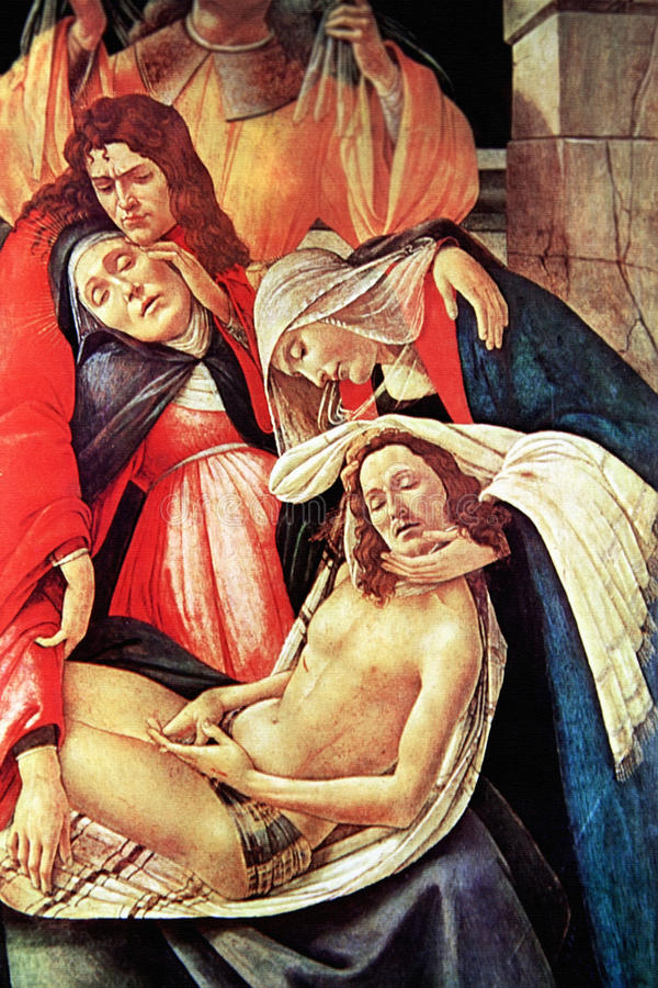 Klagovisa över den döda Kristus, en Closeup royaltyfri bild