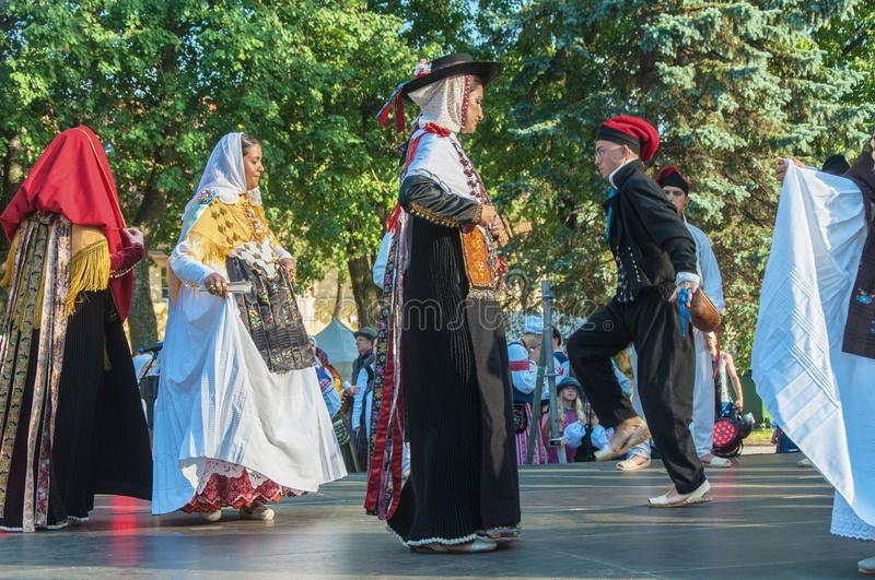 Klaipeda Lithuania - july 20th, 2018 International folklor fes. Klaipeda Lithuania - july 20th, 2018 - Folk ensemble `ES BROLL` from Ibiza, Spain. international royalty free stock images