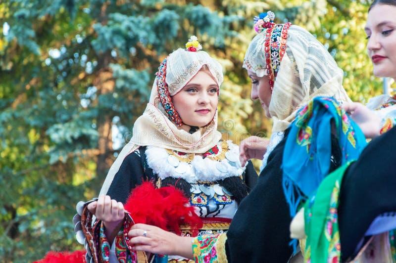 Klaipeda Lithuania - july 20th, 2018 International folklor fes. Klaipeda Lithuania - july 20th, 2018 - Folk ensemble `Makedonia`. international folklor festival royalty free stock photography