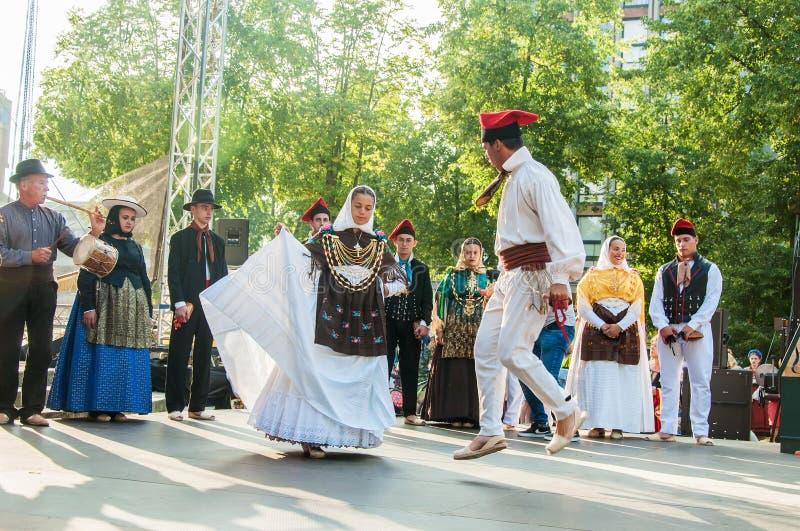 Klaipeda Lithuania - july 20th, 2018 International folklor fes. Klaipeda Lithuania - july 20th, 2018 - Folk ensemble `ES BROLL` from Ibiza, Spain. international stock image