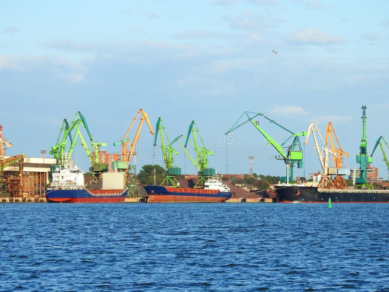 Klaipeda port with ships and cranes , Lithuania stock photo