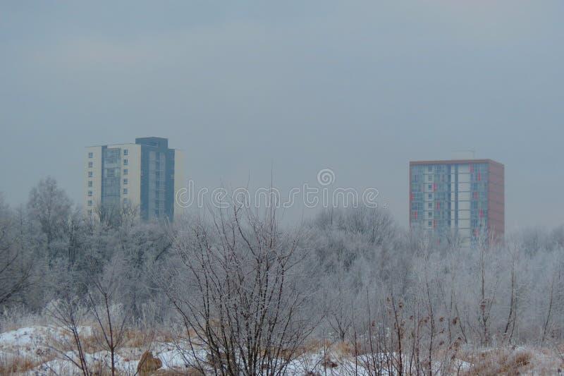 Klaipeda stad i vinter, Litauen arkivbild
