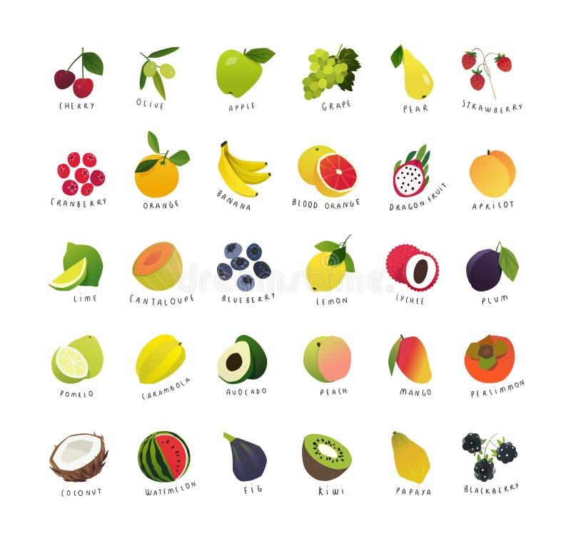 Klamerki sztuki miniatury owoc i jagody royalty ilustracja