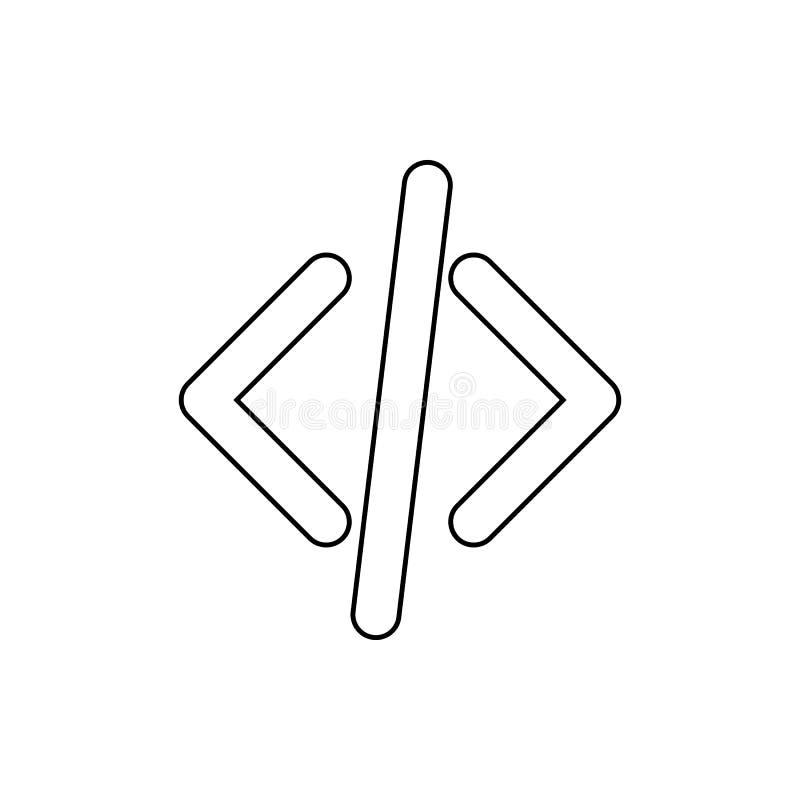 Klammern und schiefe Ikone Element des Netzes für bewegliches Konzept und Netz Appsikone Dünne Linie Ikone für Websitedesign und stock abbildung