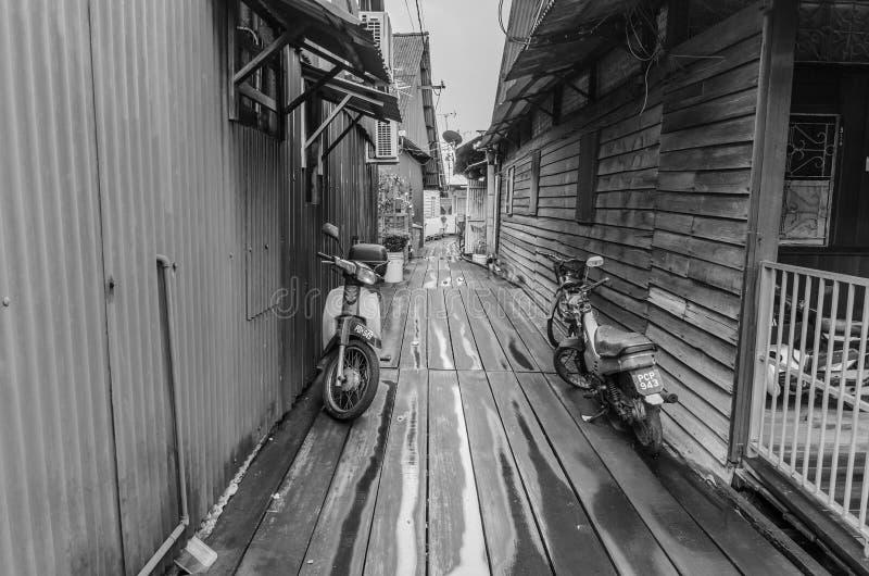 Klanbryggor i Penang, Malaysia fotografering för bildbyråer
