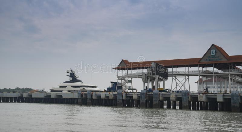 Superyacht Equanimity in Port Klang. KLANG, MALAYSIA : SEPT 9, 2018: Yacht Equanimity purportedly belonging to businessman Jho Low at Port Klang. Equanimity was royalty free stock image