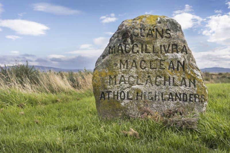 Klanowi grób na Culloden Cumują pole bitwy w Szkocja fotografia royalty free