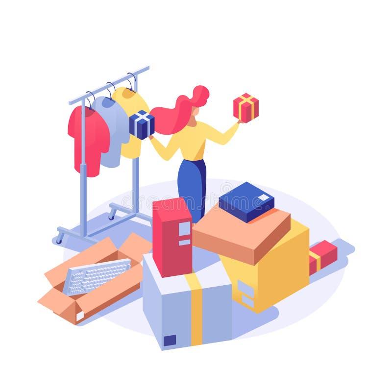 Klant het kopen producten vector isometrische illustratie Vrouwelijke verkoper, winkel hulp doende inventaris, koper het kiezen vector illustratie