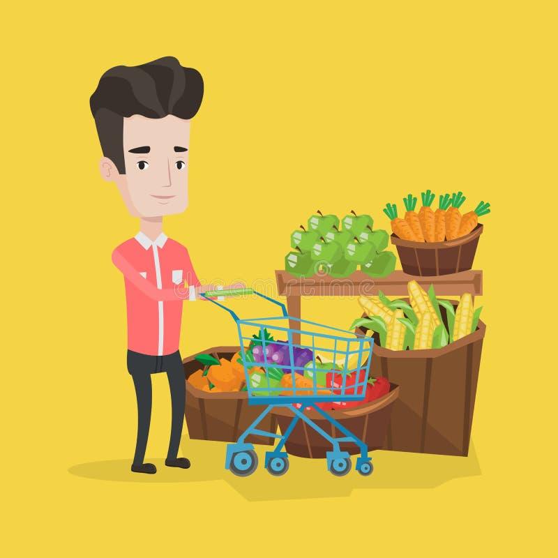 Klant met boodschappenwagentje vectorillustratie vector illustratie