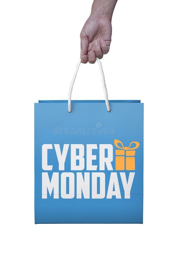 Klant met de papieren zak van de cybermaandag, PC-muis, laptop kaartjeslaboratorium stock fotografie
