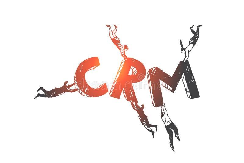 Klant, verhouding, beheer, CRM-conceptenschets Hand getrokken ge?soleerde vectorillustratie stock illustratie