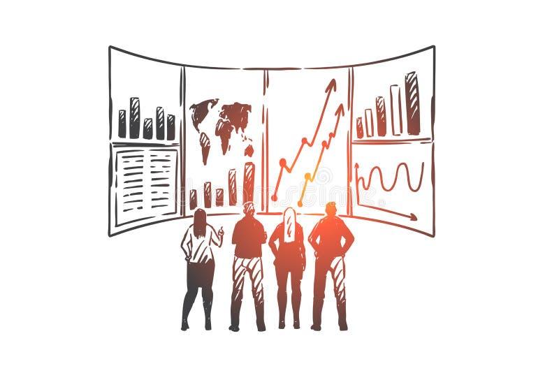 Klant, verhouding, beheer, CRM en de schets van het groepswerkconcept Hand getrokken ge?soleerde vectorillustratie royalty-vrije illustratie