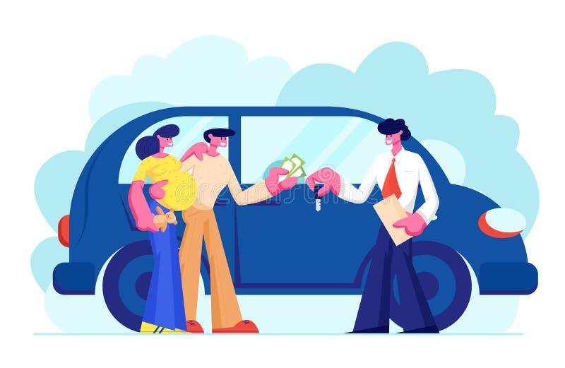 Klanten die Auto kopen die Geld geven aan Handelaar Verkoper Give Key aan Nieuwe Eigenaar Jong Familiepaar van de Mens en Zwanger royalty-vrije illustratie