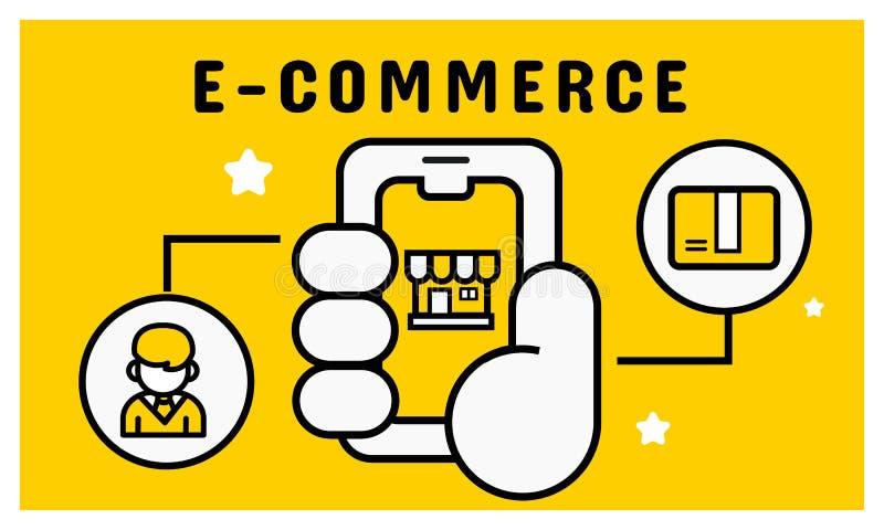 Klantenbetaling op mobiel Het concept van het elektronische handelproces royalty-vrije illustratie