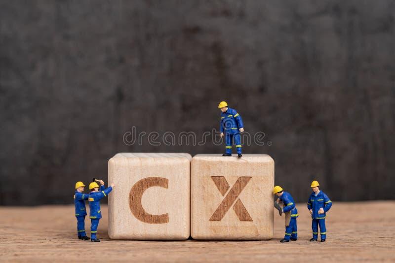 Klantenervaring in product en de dienstconcept, miniatuurmensenarbeiders met het blauwe team eenvormige houten blok van de de bou royalty-vrije stock foto
