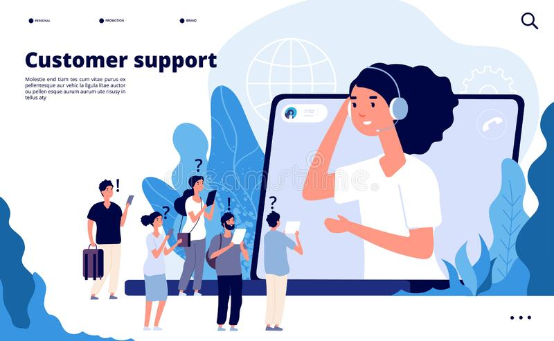 klantenondersteuningsconcept De beroeps helpen cliënt met smartphone Telemarketings communicatie vectorlandingspagina royalty-vrije illustratie