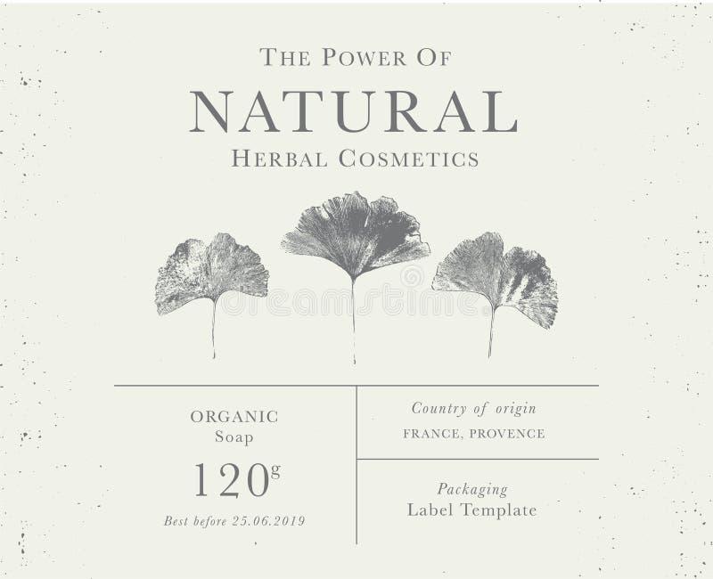 Klantgericht uitstekend etiket van Natuurlijke organische kruidenproducten royalty-vrije stock foto