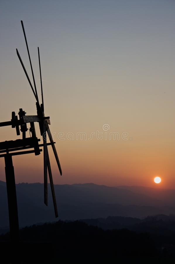 Klapotez in south Styria. Klapotez is a windmill/scarecrow in south Styria on the vineyard stock photography