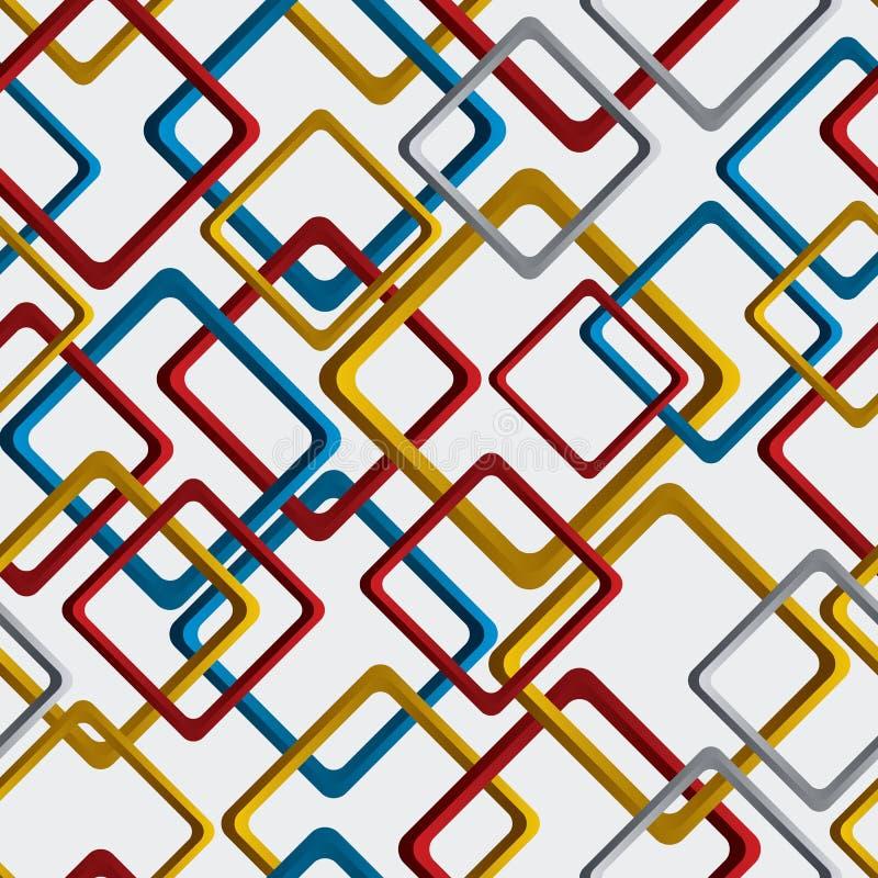 Klappar geometrisk kvadrerad bakgrund för den ljusa vektorn, rhombic sömlöst stock illustrationer