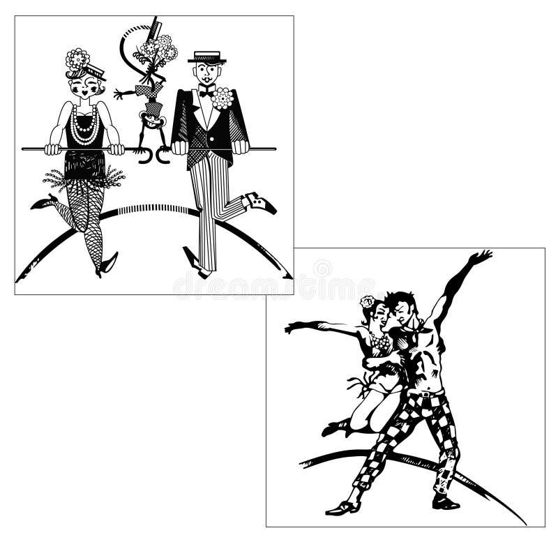 Klappdans, konturer royaltyfri illustrationer