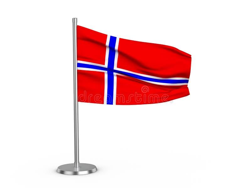 Klappende vlag Noorwegen vector illustratie