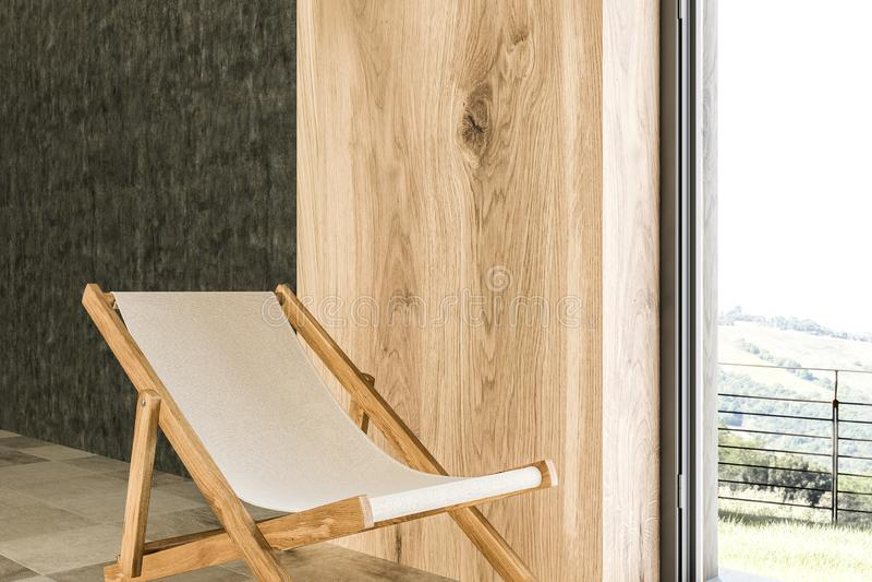 Klappstuhl in einer Urlaubshotelreihe, grau stock abbildung