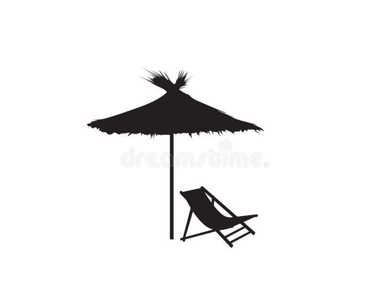 Klappstuhl-Regenschirmsommerstrandurlaubsymbol-Schattenbildikone Liege, Sonnenschirm lokalisiert Sunbath-Strandurlaubsortsymbol v stock abbildung