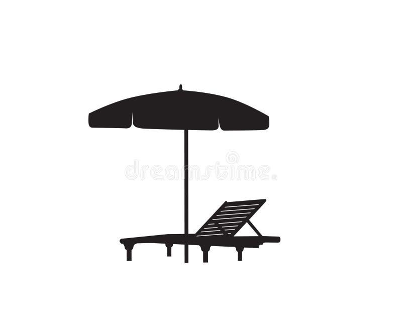Klappstuhl-Regenschirmsommerstrandurlaubsymbol-Schattenbildikone Liege, Sonnenschirm lokalisiert Sunbath-Strandurlaubsortsymbol v lizenzfreie abbildung