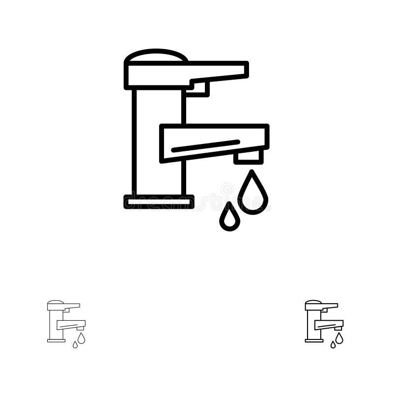 Klappvatten, handen, klappet, vatten, vattenkran, tappar den djärva och tunna svarta linjen symbolsuppsättning vektor illustrationer