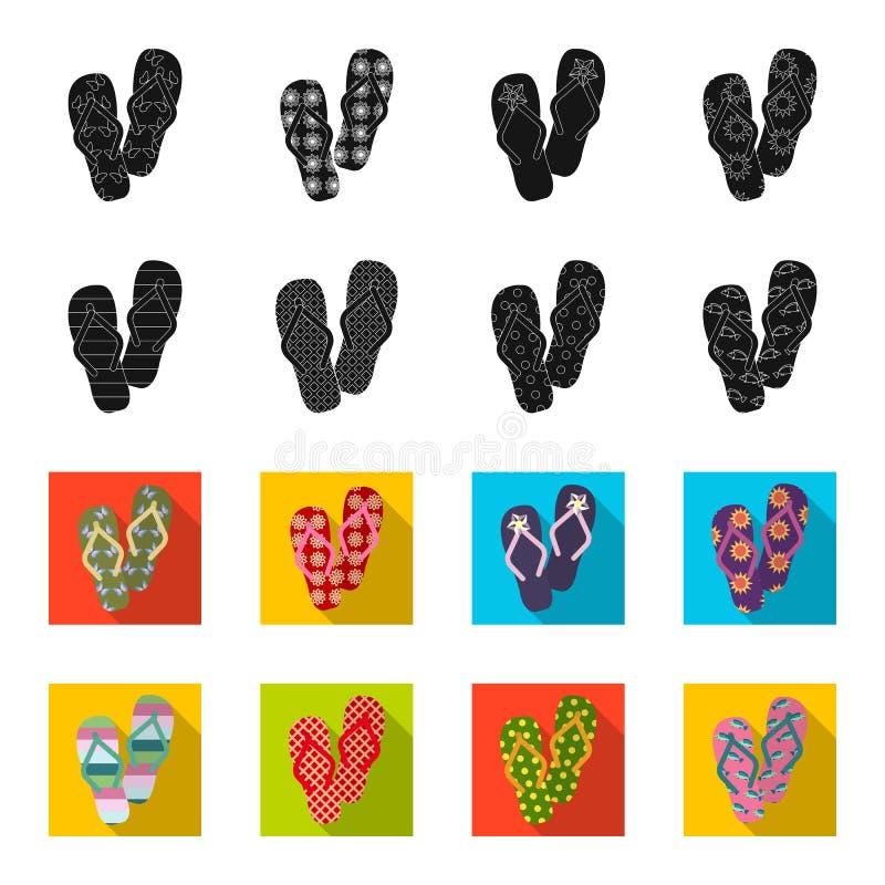Klapy czernią, flet ikony w ustalonej kolekci dla projekta Plażowych butów symbolu zapasu sieci wektorowa ilustracja ilustracji