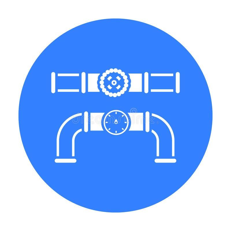 Klapy i metru ikona w czerń stylu odizolowywającym na białym tle Instalacja wodnokanalizacyjna symbolu zapasu wektoru ilustracja ilustracji