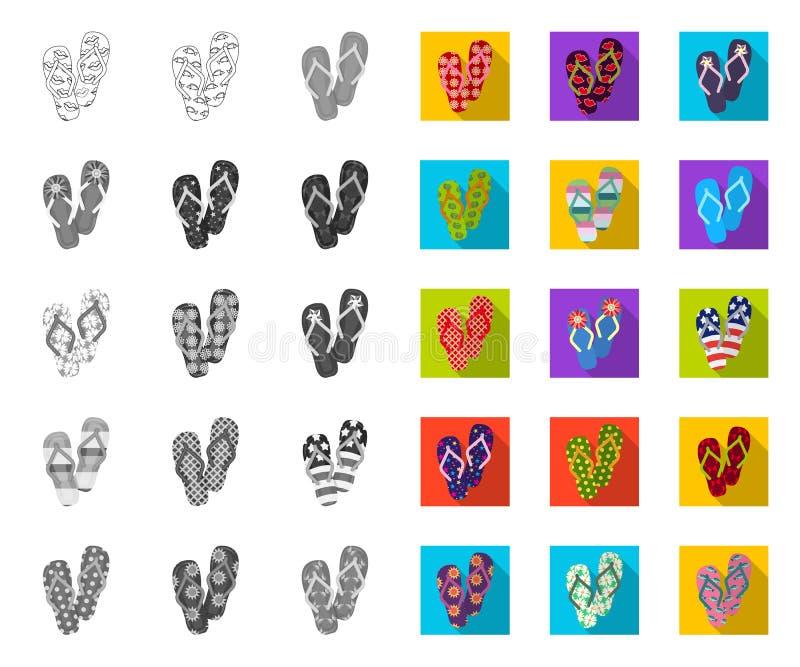 Klapy mono, płaskie ikony w ustalonej kolekcji dla projekta Pla?owych but?w symbolu zapasu sieci wektorowa ilustracja ilustracji