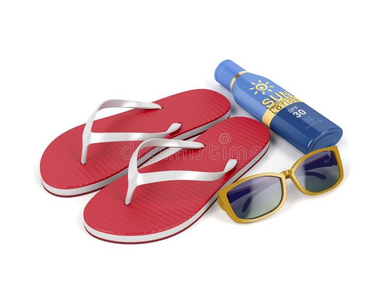 Klapy, sunscreen płukanka i okulary przeciwsłoneczni, ilustracji