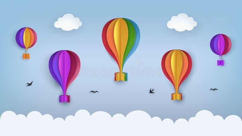 Klar blå himmel med moln, flygfåglar, regnbåge-färgade ballonger för varm luft Svalor som flyger i himlen Sommarplats för pappers vektor illustrationer