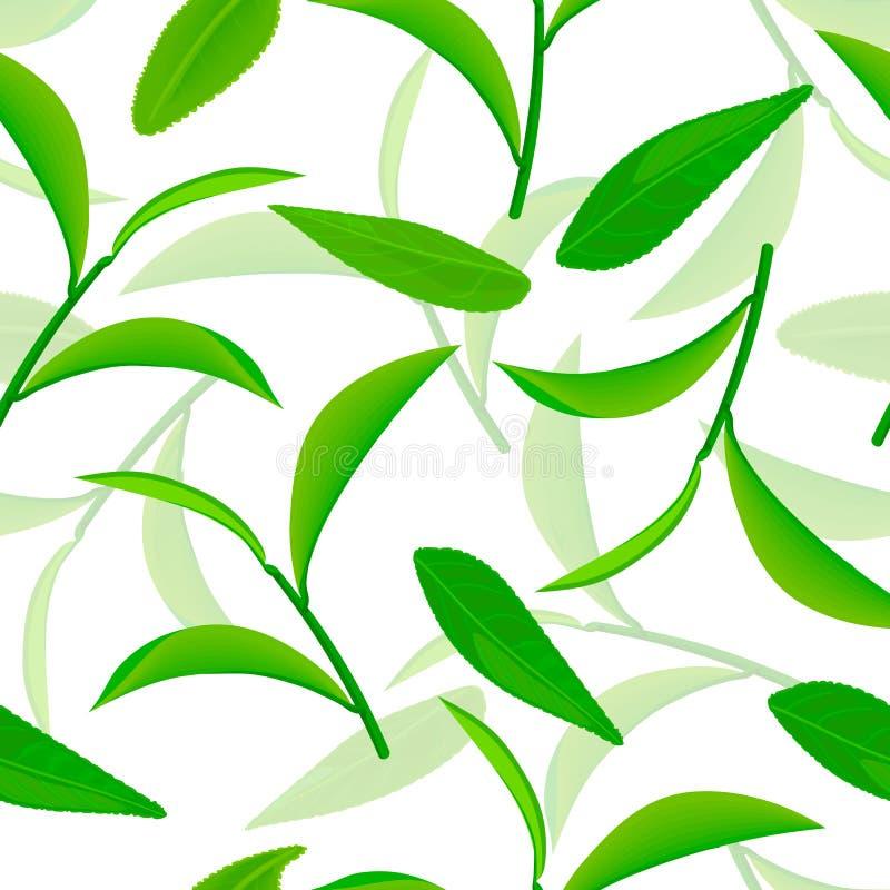 Klar fliegende grüne Teeblätter, nahtloses Vektormuster weiße Illustration des Hintergrundes 3d stock abbildung